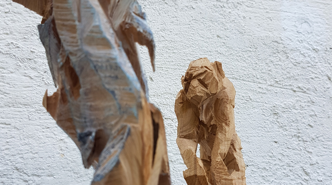 Sägewesen, Elsa Nietmann, Affe (Eiche, h: ca. 25 cm)
